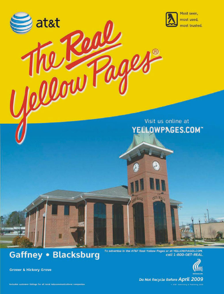 Gaffney City Hall graces cover of Real Yellow Pages